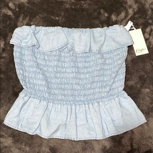Candie's Blue Smocked Cropped Top